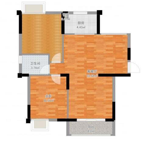 春华星运城1室2厅1卫1厨87.00㎡户型图