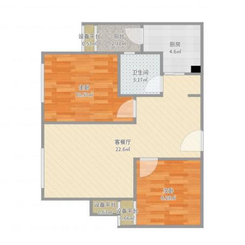 欣光松宿2室2厅1卫1厨67.00㎡户型图