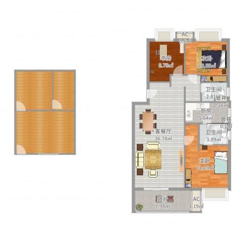 万科临湖轩3室2厅2卫1厨124.77㎡户型图