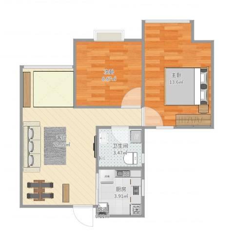 蜜橙2室1厅1卫1厨64.00㎡户型图