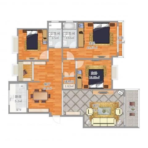 江南春晓3室2厅2卫1厨128.00㎡户型图