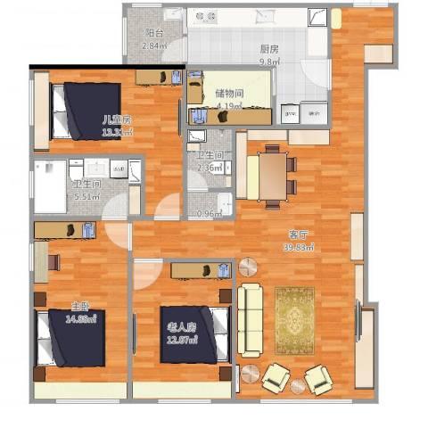 阳光100国际公寓3室1厅2卫1厨105.76㎡户型图