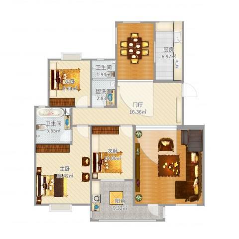 元氏天山水榭花都3室2厅2卫1厨139.00㎡户型图