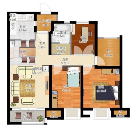 万科蓝山3室1厅3卫3厨111.00㎡户型图