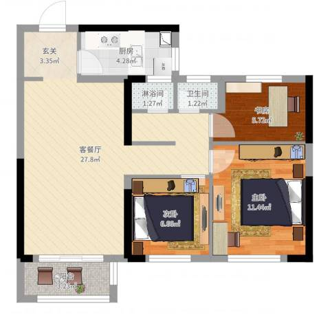 万科蓝山3室2厅1卫1厨89.00㎡户型图