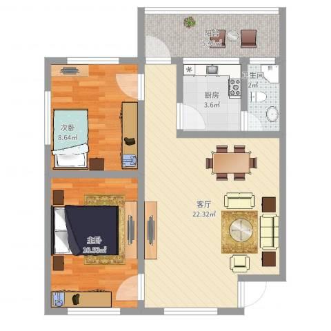 芳村大道东小区2室1厅1卫1厨66.00㎡户型图