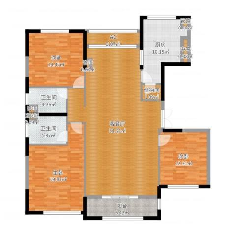太湖锦园3室2厅2卫1厨161.00㎡户型图