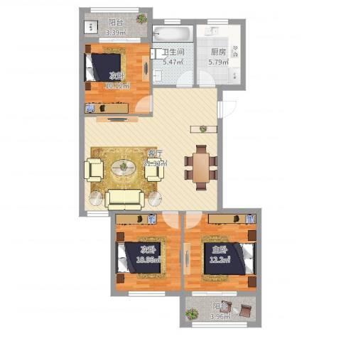 舟宿云庭3室1厅1卫1厨104.00㎡户型图