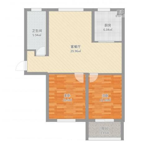 嵛景华城2室2厅1卫1厨87.00㎡户型图
