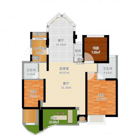 瓯北国际华城3室1厅6卫1厨125.00㎡户型图