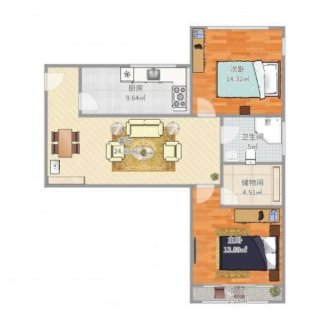 甘泉公寓2室1厅1卫1厨93.00㎡户型图