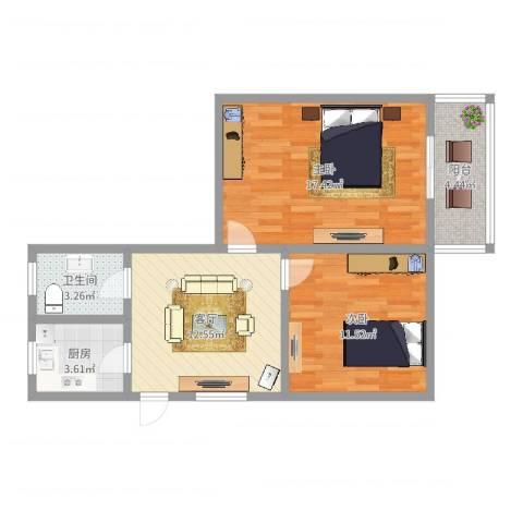 甘泉公寓2室1厅1卫1厨66.00㎡户型图