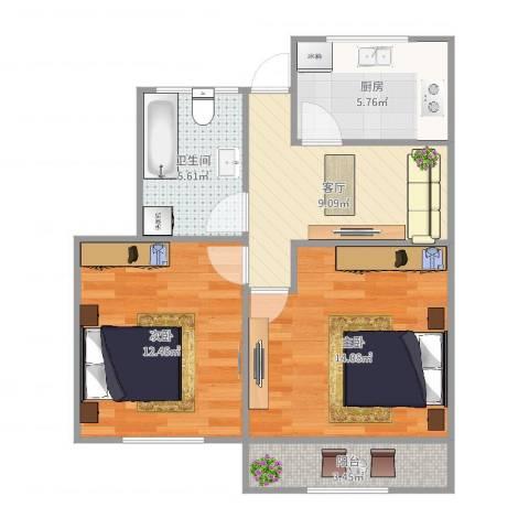 甘泉三村2室1厅1卫1厨63.00㎡户型图