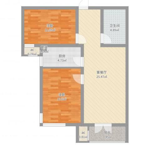 汉滨城市花园2室2厅1卫1厨81.00㎡户型图