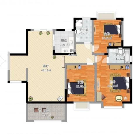 华美美立方3室1厅3卫1厨154.00㎡户型图