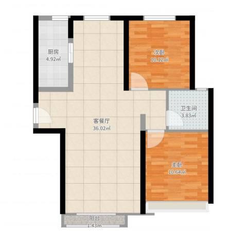汤河铭筑2室2厅1卫1厨84.00㎡户型图