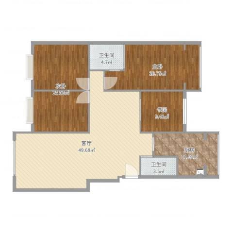 王府花园3室1厅2卫1厨157.00㎡户型图