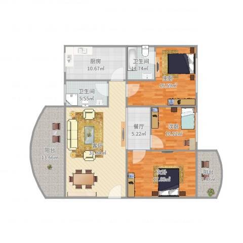 港龙花园3室2厅2卫1厨121.00㎡户型图