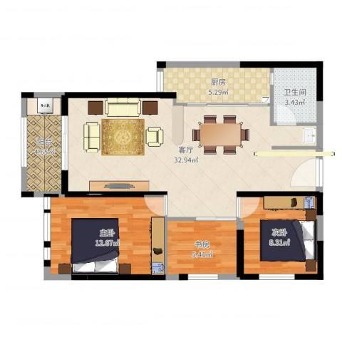 华尔国际3室1厅1卫1厨95.00㎡户型图