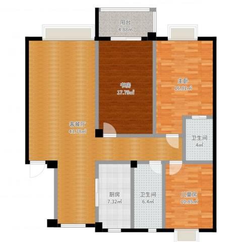 利丰花园3室2厅2卫1厨140.00㎡户型图