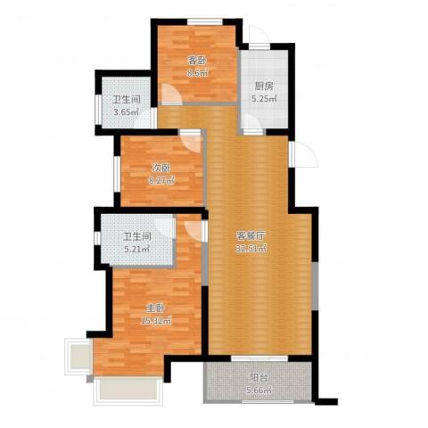 金地・国际花园3室2厅2卫1厨106.00㎡户型图