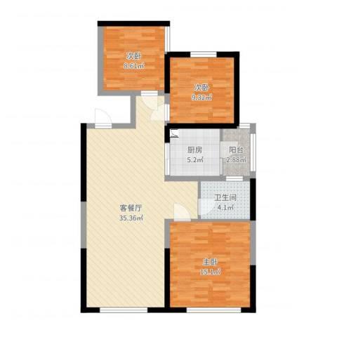中铁缇香郡3室2厅1卫1厨101.00㎡户型图