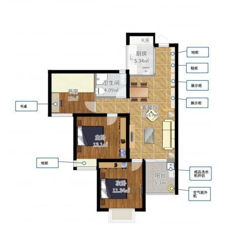 青枫墅园3室2厅1卫1厨97.00㎡户型图
