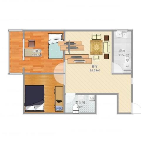 华威西里1室1厅1卫1厨56.00㎡户型图