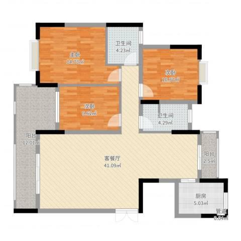 联泰香域尚城3室2厅2卫1厨130.00㎡户型图