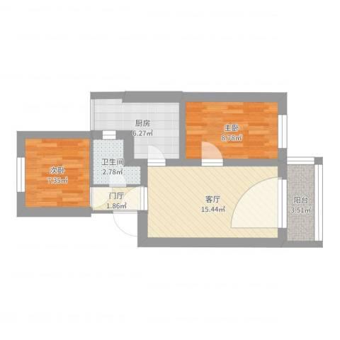 于家坟小区2室1厅1卫1厨57.00㎡户型图