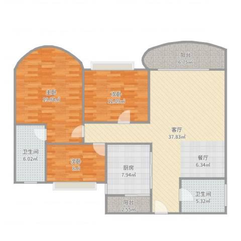 丽日玫瑰3室1厅2卫1厨133.00㎡户型图