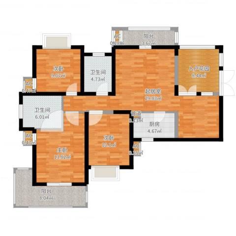 湘江世纪城3室1厅5卫3厨125.00㎡户型图