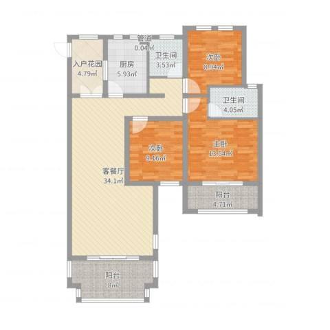 天池湾3室2厅2卫1厨121.00㎡户型图