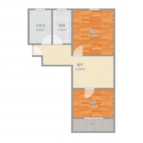 甘泉三村2室1厅1卫1厨55.00㎡户型图