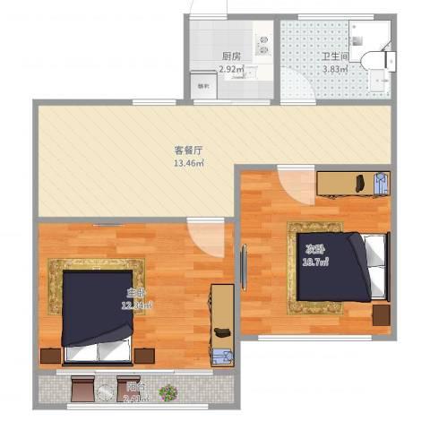 甘泉三村2室2厅1卫1厨57.00㎡户型图