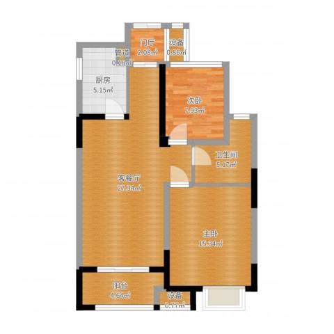 金科天籁城2室2厅4卫1厨87.00㎡户型图