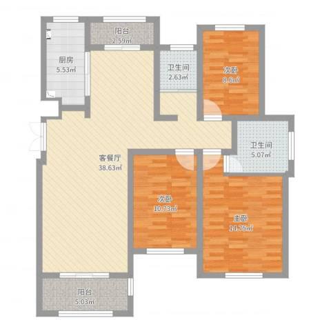 西平建业森林半岛3室2厅2卫1厨117.00㎡户型图