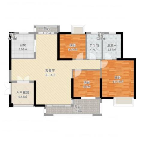 黄旗山1号3室2厅2卫1厨134.00㎡户型图