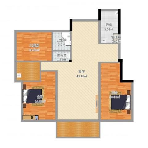 新筑璞园3室3厅1卫1厨136.00㎡户型图