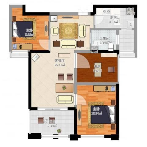 天慧紫辰阁3室2厅1卫1厨92.00㎡户型图