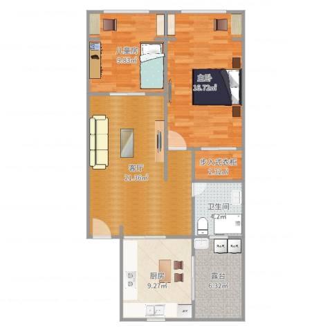 岚皋西路45弄小区2室1厅1卫1厨88.00㎡户型图