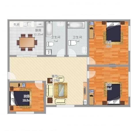 绿缘公寓3室1厅2卫1厨126.00㎡户型图
