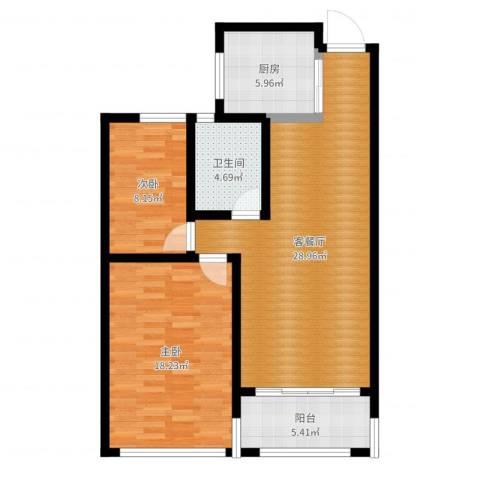 建滔裕景园2室2厅1卫1厨89.00㎡户型图