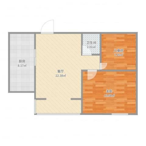 丰台润城苑2室1厅1卫1厨66.00㎡户型图