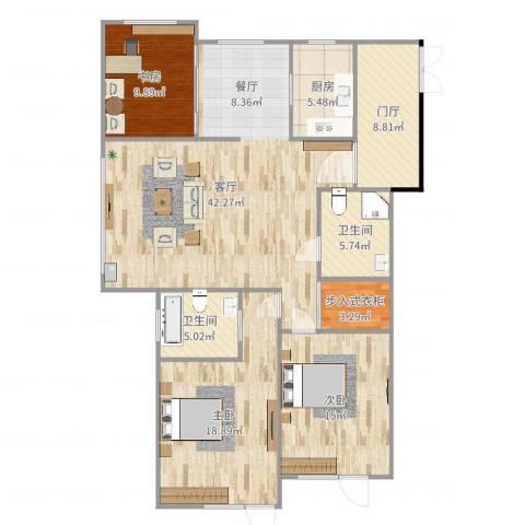 山海华府3室1厅2卫1厨143.00㎡户型图