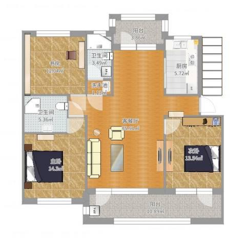 澳海澜庭3室2厅2卫1厨133.00㎡户型图