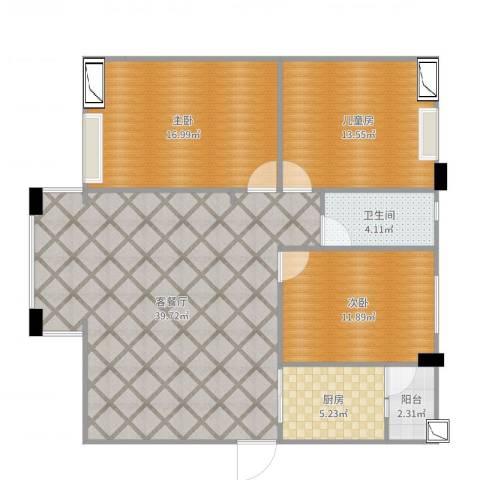 中源国际城3室2厅1卫1厨117.00㎡户型图