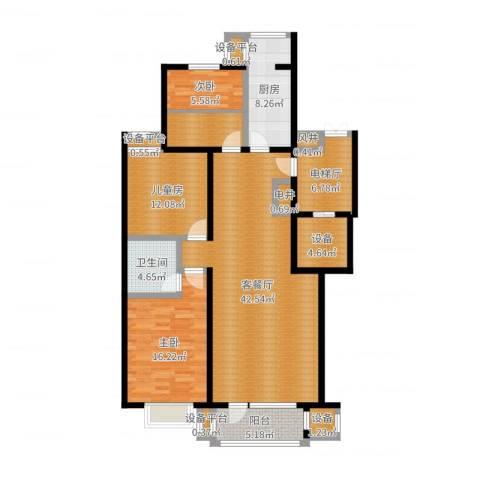 梨花江苑3室2厅1卫1厨143.00㎡户型图