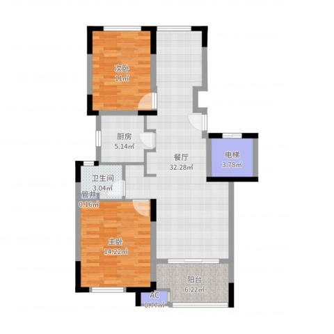 新城春天里2室1厅1卫1厨96.00㎡户型图