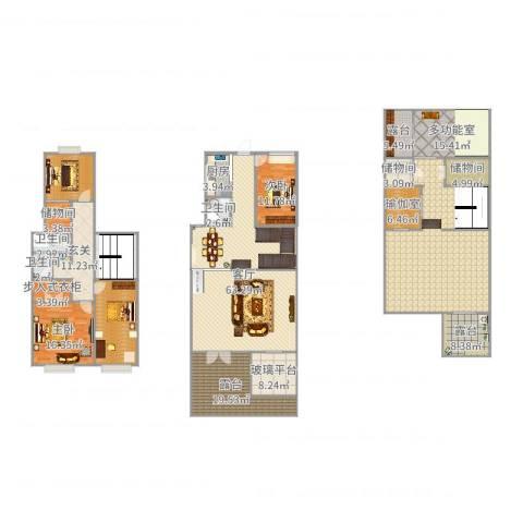 旭辉上河郡2室1厅3卫1厨349.00㎡户型图